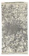 1855 Colton Map Of London Bath Towel