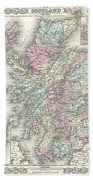 1855 Colton Map Of Scotland Bath Towel