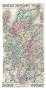 1855 Colton Map Of Scotland Bath Towel