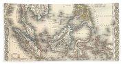 1855 Colton Map Of The East Indies Singapore Thailand Borneo Malaysia Bath Towel