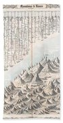 1855 Colton Map Or Chart Of The Worlds Mountains And Rivers Bath Towel