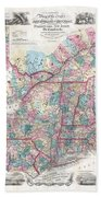 1856 Colton Pocket Map Of New England And New York Bath Towel