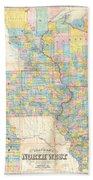 1857 Chapman Pocket Map Of The North West Illinois Wisconsin Iowa  Bath Towel