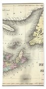 1857 Colton Map Of New Brunswick And Newfoundland Canada Bath Towel