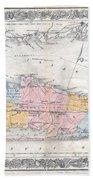 1857 Colton Travellers Map Of Long Island New York Bath Towel