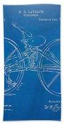 1869 Velocipede Bicycle Patent Blueprint Bath Towel