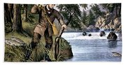 1870s Brook Trout Fishing - Currier & Bath Towel