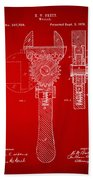 1878 Adjustable Wrench Patent Artwork - Red Bath Towel