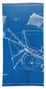 1879 Quinby Aerial Ship Patent Minimal - Blueprint Bath Towel