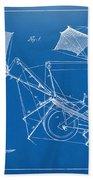 1879 Quinby Aerial Ship Patent Minimal - Blueprint Bath Towel