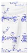 1885 Roller Skate Patent Blueprint Bath Towel