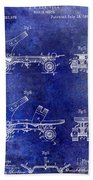 1885 Roller Skate Patent Drawing Blue Bath Towel