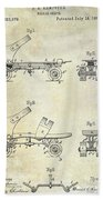 1885 Roller Skate Patent Drawing Bath Towel