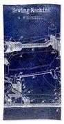 1885 Sewing Machine Patent Drawing Blue Bath Towel