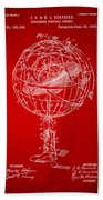 1885 Terrestro Sidereal Sphere Patent Artwork - Red Bath Towel