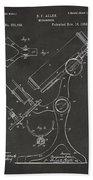1886 Microscope Patent Artwork - Gray Bath Towel