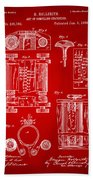 1889 First Computer Patent Red Bath Towel