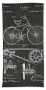 1890 Bicycle Patent Artwork - Gray Hand Towel