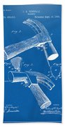 1890 Hammer Patent Artwork - Blueprint Bath Towel