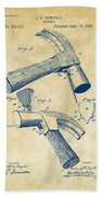 1890 Hammer Patent Artwork - Vintage Bath Towel