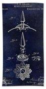 1892 Motorcycle Helmet Spike Patent Drawing Blue Bath Towel