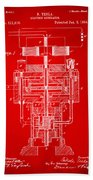 1894 Tesla Electric Generator Patent Red Bath Towel by Nikki Marie Smith