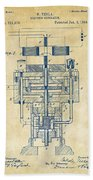 1894 Tesla Electric Generator Patent Vintage Bath Towel by Nikki Marie Smith