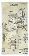1901 Barber Chair Patent Drawing  Bath Towel