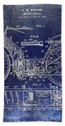 1901 Motorcycle Patent Drawing Blue Bath Towel