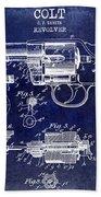 1903 Colt Revolver Patent Drawing Blue Bath Towel