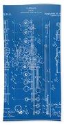 1908 Flute Patent - Blueprint Bath Towel