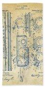 1909 Flute Patent - Vintage Bath Towel