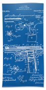 1911 Automatic Firearm Patent Artwork - Blueprint Bath Towel