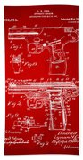 1911 Automatic Firearm Patent Artwork - Red Bath Towel