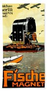 1913 - Fischer Magneto German Advertisement Poster - Color Bath Towel
