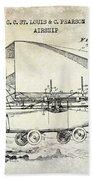 1919 Airship Patent Drawing Bath Towel