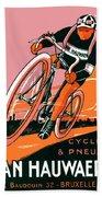 1921 - Van Hauwaert Bicycle Belgian Advertisement Poster - Color Bath Towel
