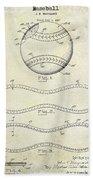 1928 Baseball Patent Drawing  Bath Towel