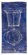 1928 Milk Pail Patent Drawing Blue Bath Towel