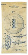 1928 Soccer Ball Lacing Patent Artwork - Vintage Bath Towel