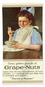 1930 - Post Grape Nuts Cereal Advertisement - Norman Rockwell - Color Bath Towel