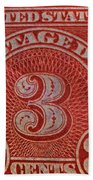 1930 Three Cents Postage Due Stamp Bath Towel