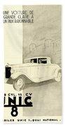 1931 - Unic 8 French Automobile Advertisement Bath Towel