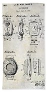 1933 Watch Case Patent Drawing  Bath Towel