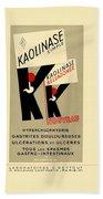 1936 - Kaolinase Drug Advertisement - Color Bath Towel