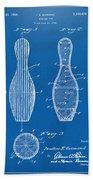 1939 Bowling Pin Patent Artwork - Blueprint Bath Towel