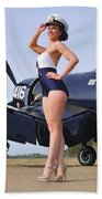 1940s Style Navy Pin-up Girl Posing Bath Towel