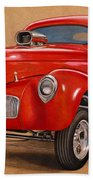 1941 Willys Gasser Coupe Drawing Bath Towel