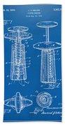 1944 Wine Corkscrew Patent Artwork - Blueprint Hand Towel