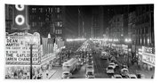 1950s 1953 Night Scene Of Chicago State Hand Towel